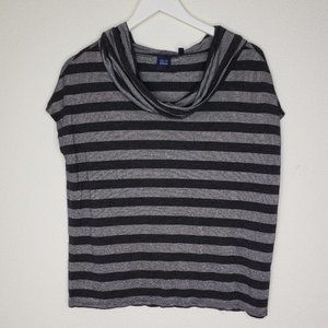 BLUE Saks 5th Ave Silver Gray Stripe SS Tee Shirt